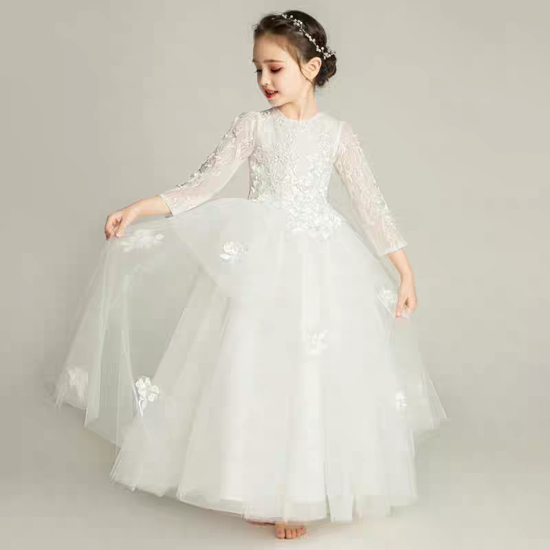 2018 Autumn New Girls Kids White Color Birthday Wedding Party Princess Lace Dress Children Teens Elegant Piano Costume Dress new children girls elegant sweet white color birthday wedding party cake layers princess lace dress baby kids pageant dress