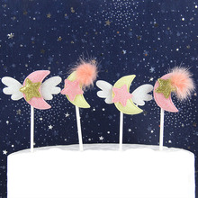Cake Flags Cupcake Cake Topper Angel Wings Moon Toppers Bride Kids Birthday Wedding Bridal Cake Wrapper Party Baking DIY Flags cake flags happy mother s day best mom cupcake cake topper toppers kids birthday wedding bridal cake wrapper party baking diy