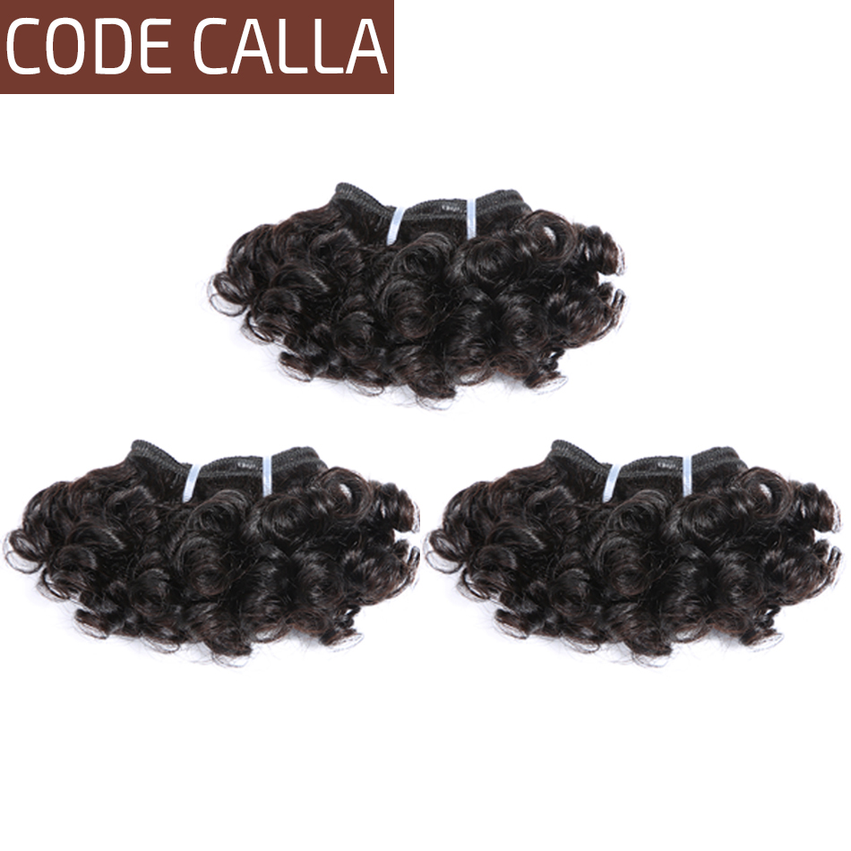 Code Calla Short-cut Pre-Colored Raw Virgin Human Hair 3 Bundles 6 Inch Italian Bouncy Curly 6PCS Can Make A Wig Free Shipping