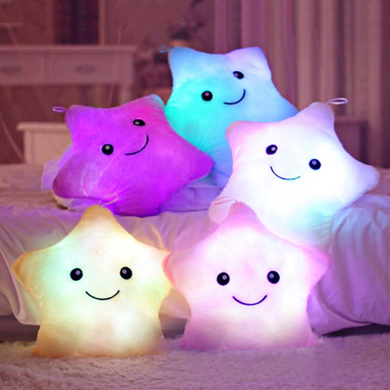 1pc 38cm Colorful Star Shape Toys Star Glowing LED Luminous Light Pillow Soft Relax Gift Smile Body Pillow Valentines Gift W0085