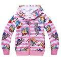 New Year Pokemon Girls Coats Cotton Cartoon Hoodies Stripe Pikachu Coat For Girls Children Clothing Kids Jackets For 4-10 Years