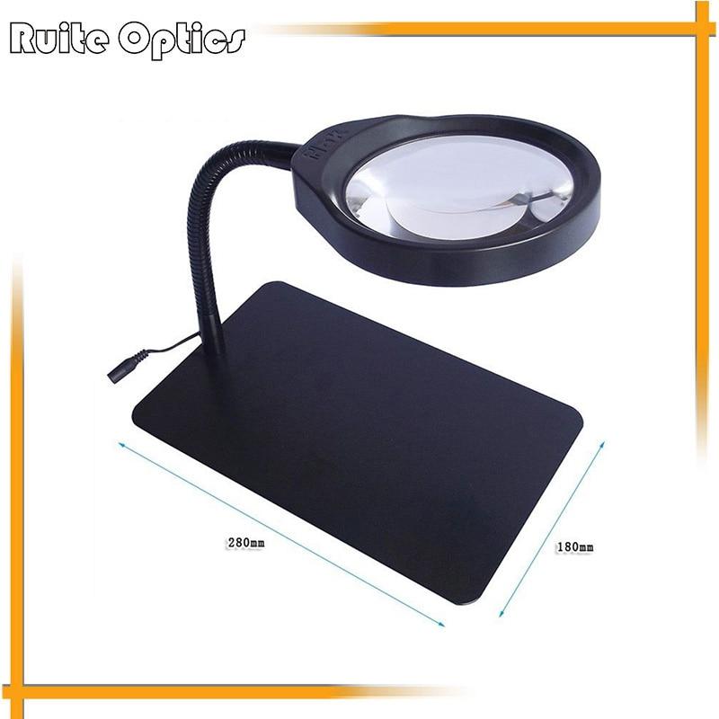 8x bureau lentille en verre optique LED éclairage lecture réparation Loupe Loupe Loupe avec lumières de LED