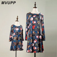 ФОТО mvupp mother daughter dresses cute round neck long sleeve cartoon santa claus printing mini dress mother daughter clothes mammy