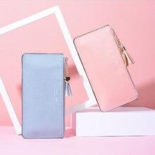 цены на Women's long wallet female hand holding mobile phone bag ultra-thin bright leather sweet pu leather wallet кошелек женский  в интернет-магазинах