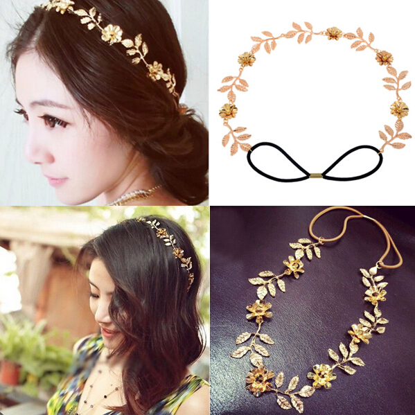 Romantic Wedding Accessories For Women Gold Leaves Crystal Flower Headbands Hair  Band Bride Hair Bands Hair Accessories Free 1abf3bd881f