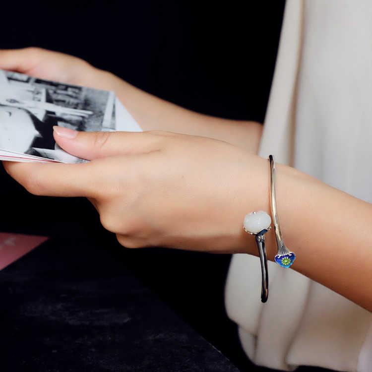 เดิมทำด้วยมือชาติพันธุ์ธรรมชาติหยกสร้อยข้อมือกำไลข้อมือและสำหรับผู้หญิงสาว,ที่ดีสง่างามอัญมณี925กำไลข้อมือเงินสำหรับของขวัญ
