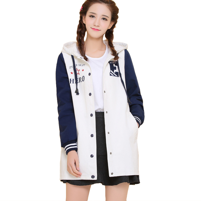 Sweet Letters Embroidery Women Jacket Cotton Windbreaker Spring Fall Female Coat Button Hooded Jacket Coats T009