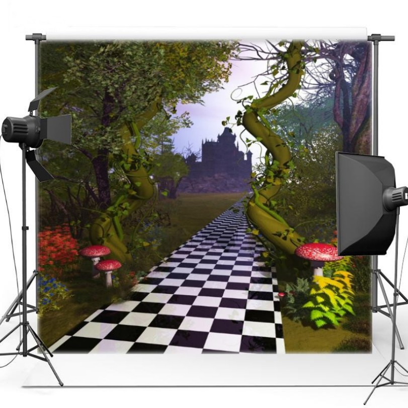 Castle Tree Mushrooms Themed Chess: Road backdrop Vinyl cloth High quality Computer print newborn baby Backgrounds a1 master bedroom living room lamp crystal pendant lights dining room lamp european style dual use fashion pendant lamps
