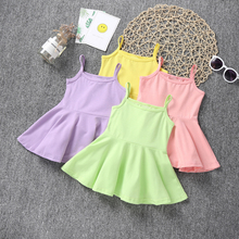 2019 Summer New Cotton Baby Girls Sling Dress Children Casual Style Clothes Bebe Girl Kids  Princess Birthday Sleeveless Dresses цены