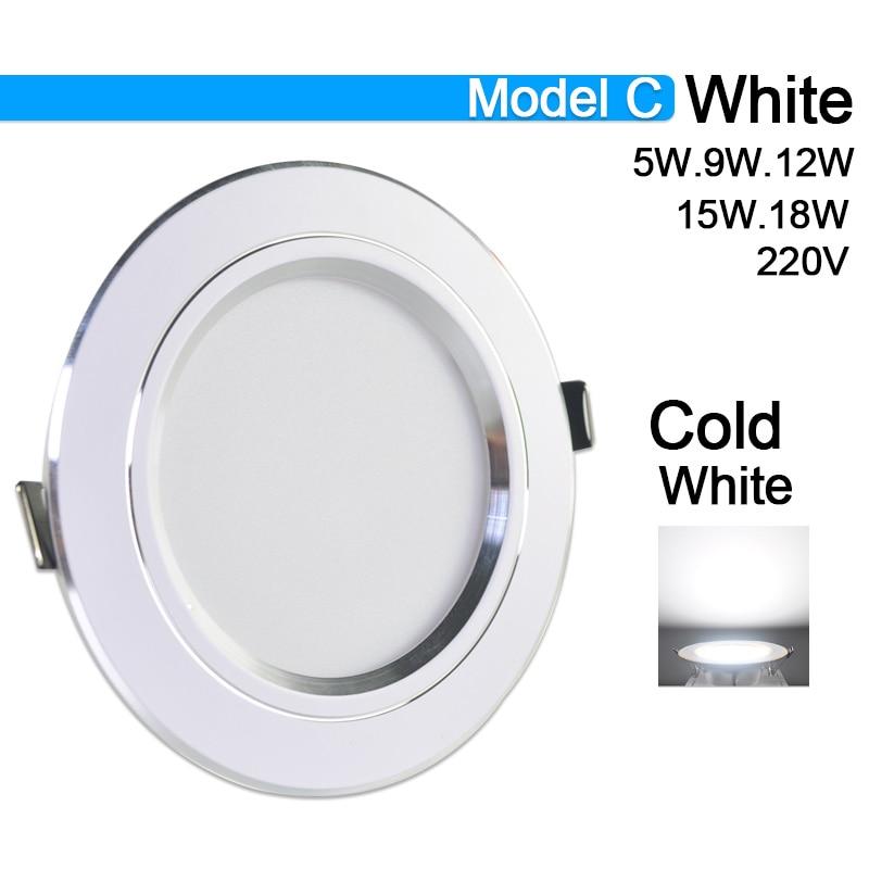 Потолочный светильник 3 Вт 5 Вт 9 Вт 12 Вт 15 Вт 18 Вт точечный светодиодный светильник AC 220 В золотистый, серебристый, белый ультратонкий алюминиевый круглый встраиваемый Светодиодный точечный светильник - Испускаемый цвет: Model C Cold White