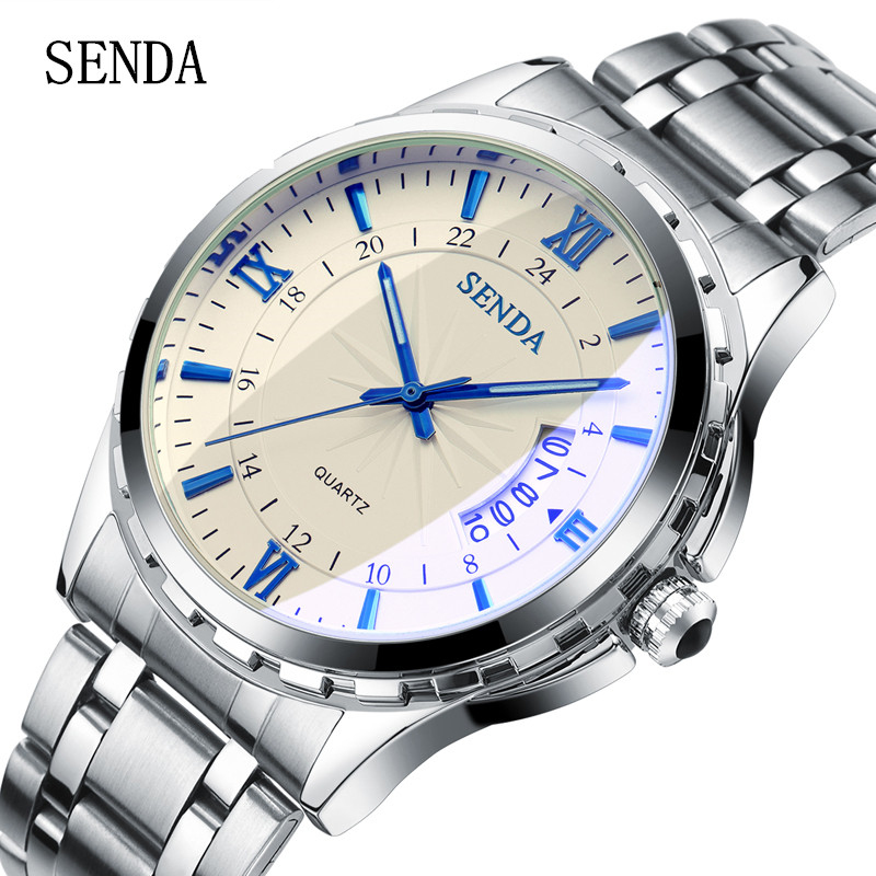 relojes hombre 2017 SENDA Luxury brand Men's stainless steel Quartz Watch montre homme Male Clock Wrist Watch relogio masculino m170en05 v5 lcd s creen a s creen 100