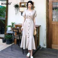 RUGOD 2019 korea summer women light Khaki solid single breasted empire waist dresses puff sleeve elegant women vestidos