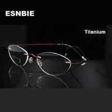 7fb6e1a1e4 ESNBIE Brand Designer Titanium Eyeglasses Rimless Female Eye Glasses Frames  for Women