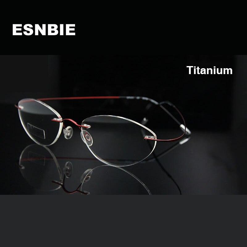 Esnbie marca diseñador Ojo de titanio Gafas memoria sin montura flexible  ojo Gafas marcos para las mujeres claro lente Gafas oculos de Grau 1f2a06635b