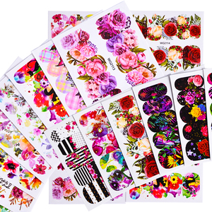 Image 4 - 45pcs Mixed Designs Full Charms Sticker Nail Art Water Decals Deep Color Flower Rabbit Cartoon DIY Decor Manicure Tips TRWG45