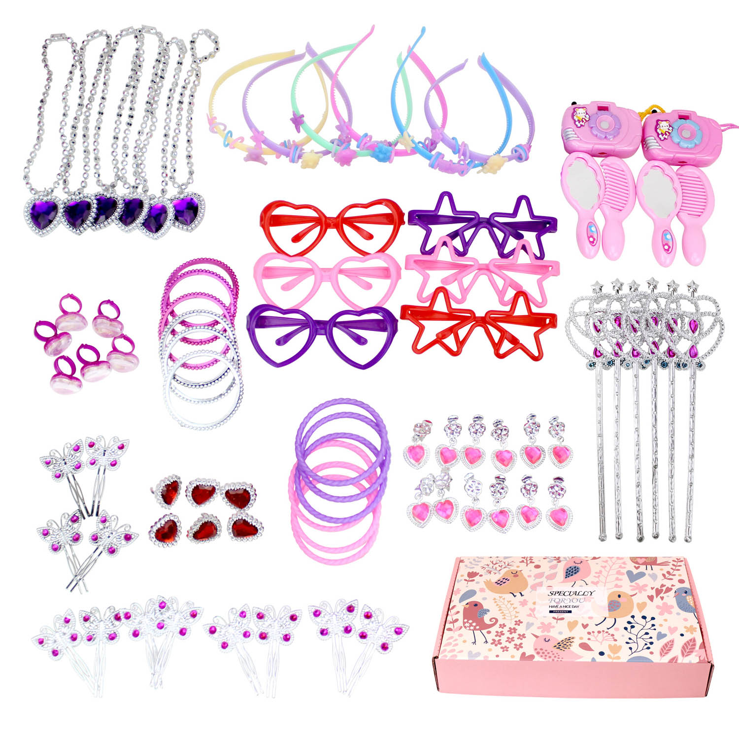 Kids Beauty Toys 72pcs 12 Styles Girls Princess Dress up Toys Pretend Play Set Makeup Game Toy for Children Girls Birthday Gifts image