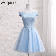 JFN85#Blue Short Boat Neck Lace up Bridesmaid Dresses 2019 s