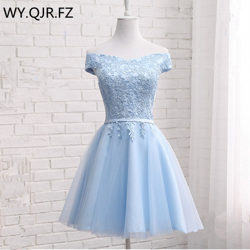 JFN85#Blue Short Boat Neck Lace up   Bridesmaid     Dresses   2019 summer new wedding party prom   dress   girls cheap Custom and wholesale