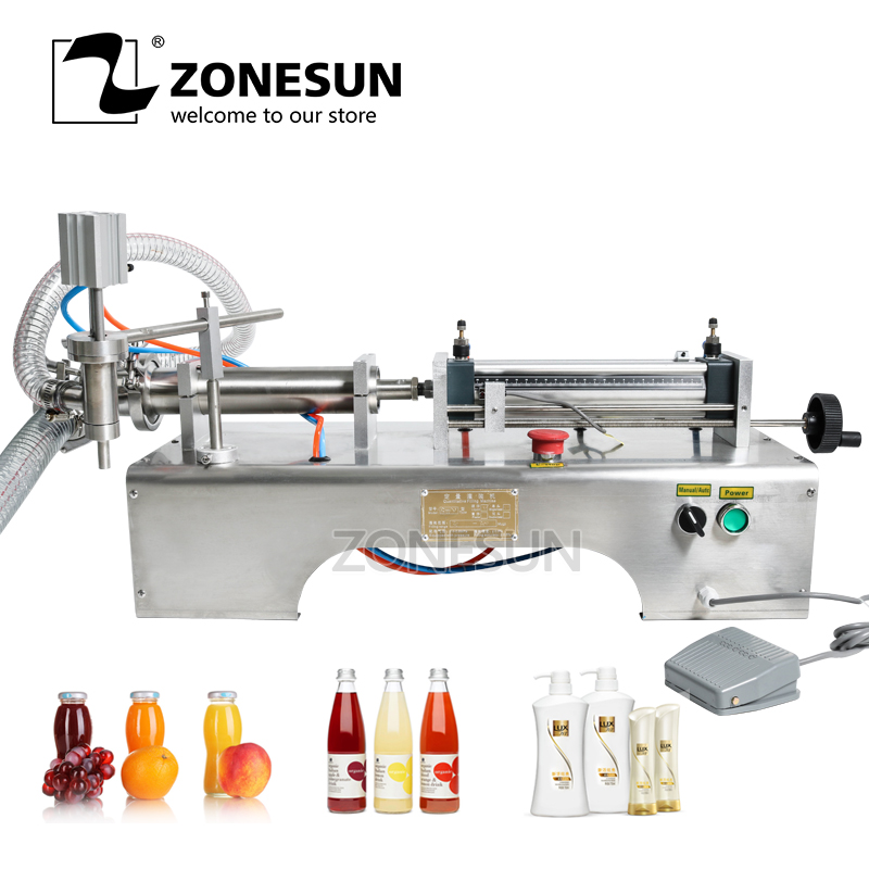 ZONESUN 5 100ml Horizontal Pneumatic Liquid Filler Shampoo Wine Milk Juice Vinegar Coffee Oil Drink Detergent