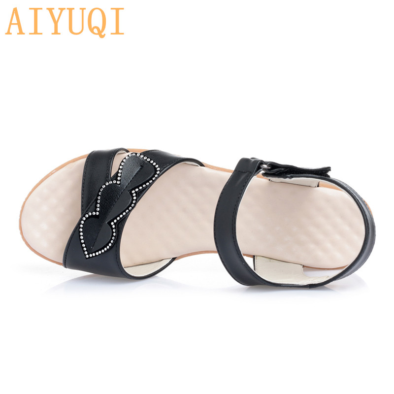 AIYUQI Women 39 s sandals with flat 2019 new women 39 s sandals genuine leather Plus size 44 45 women summer footwear mother sandals in Women 39 s Sandals from Shoes