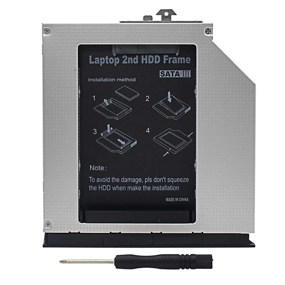 TISHRIC 2nd 2.5 HDD DVD SSD Hard Drive Caddy SATA 12.7mm For HP Probook 6360B 6435B Adapter CD-ROM Optical Bay Enclosure Case