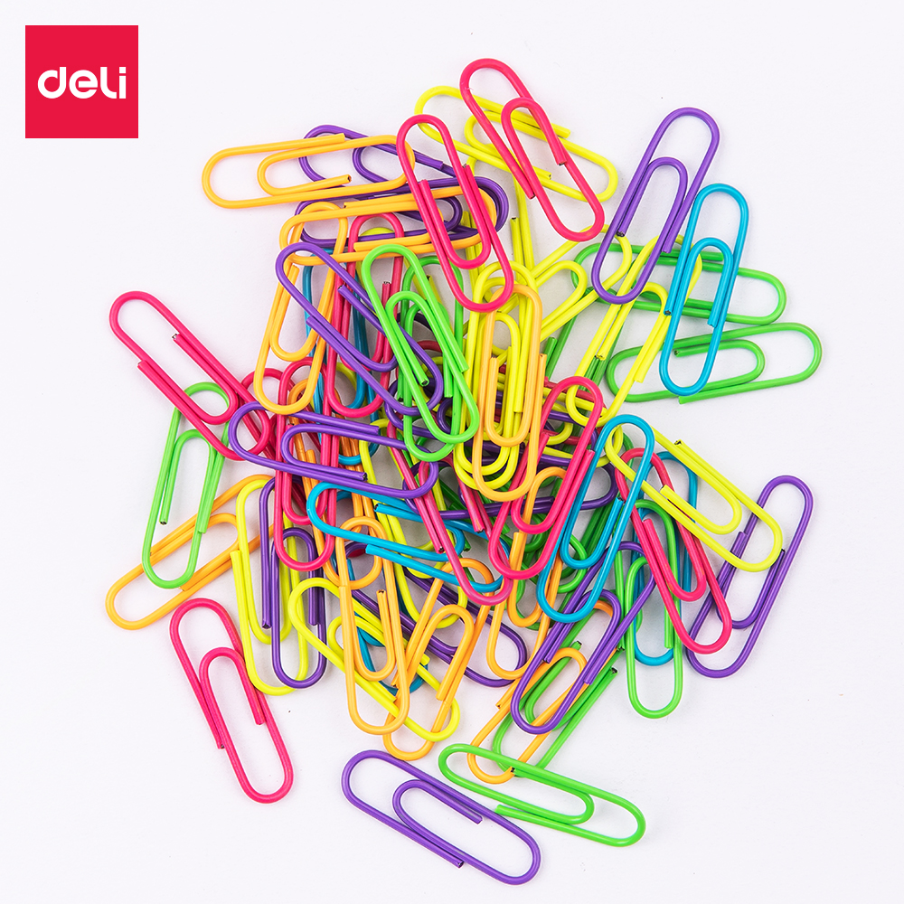 DELI Color Paper Clip 2 Bags/Lot(100Pcs/Bag) 29mm PVC Coated - MIX COLOR WHITE,PINK,RED,YELLOW,BLUE,GREEN - ROUND PAPER CLIP