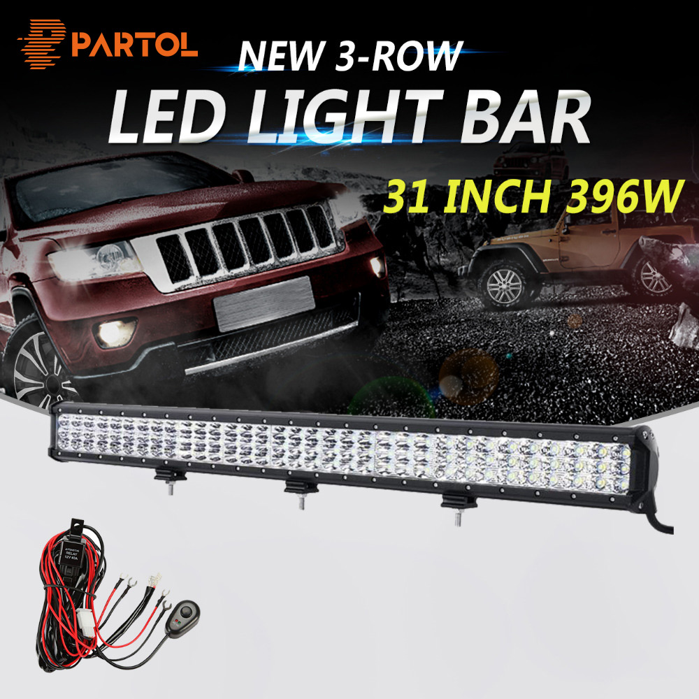 Partol 31 396w 3 Row 6d Led Light Bar Offroad Combo Beam Sale 10pcs Universal Off Road Jeep Wiring Harness Kit Driving Work Camper Truck Boat Suv Atv 4x4 4wd 12v 24v In From