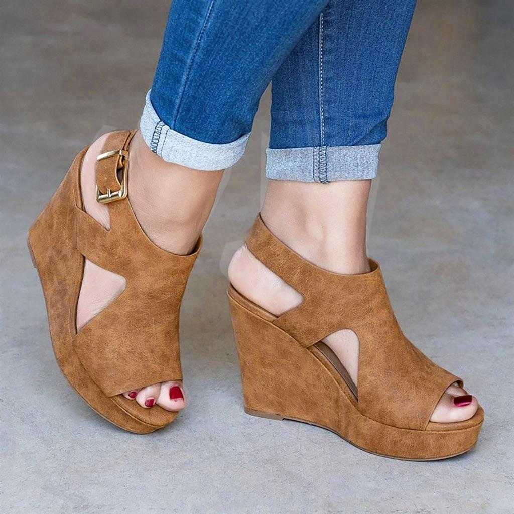 YOUYEDIAN Summer Women Platform Shoes Wedge Heels Sandals Pu Solid Fashion Concise Elegant Sandals Feminina #w35