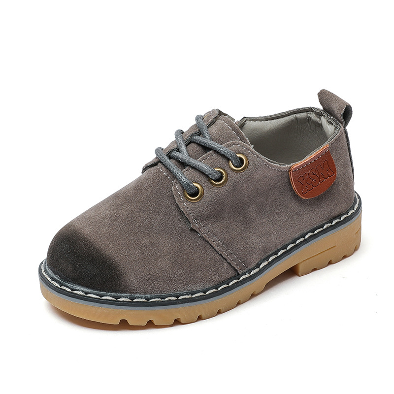 Kids leather shoes in the autumn of 2017 new fashion gray leather leather ribs soft bottom boys ballroom shoes princess