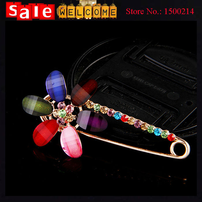 Colorful Rhinestone Crystal Golden Brooch Pin Opal Stone Candy Color Flower Women's Brooch Scarf Clip Pashmina Loop Shawl Buckle