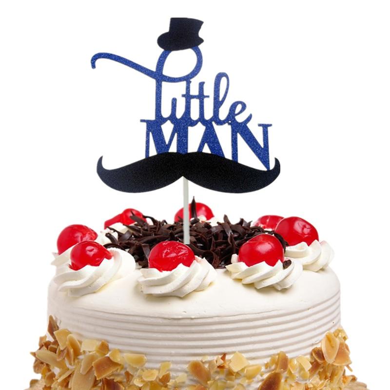 Cake Toppers Flags Glitter Dark Blue Moustache Little Man Cupcake Topper Kids Birthday Wedding Baby Shower Baking Party DIY Xmas
