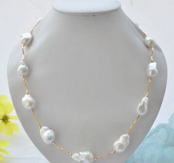 free shipping 15-21mm WHITE baroque KESHI REBORN PEARL necklace 23inch цена и фото
