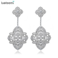 LUOTEEMI New Korea Style Big Brincos White Gold Color Elegant Jewelry Full Cubic Zircon Sparkling Drop Earring Double Flowers