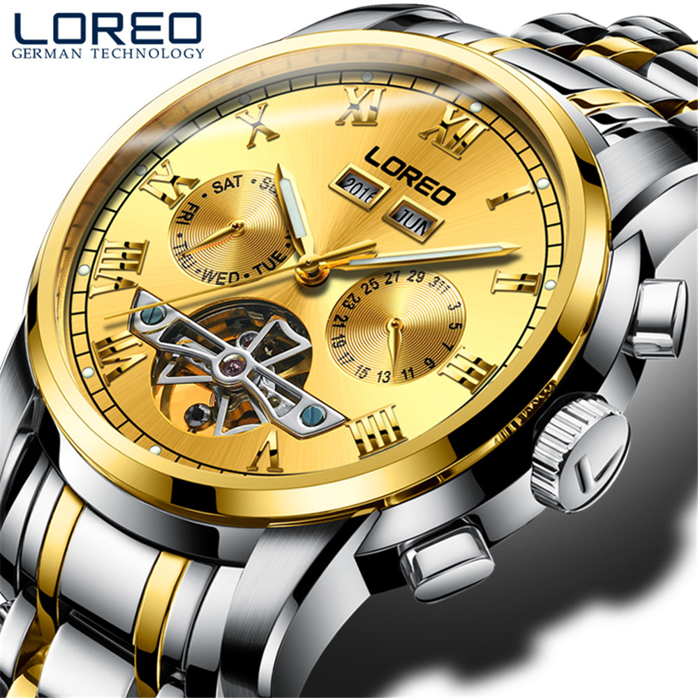 LOREO Brand Men Self-wind Waterproof Stainless Steel Strap Sapphire Automatic Mechanical Male Gold Dial Fashion Tourbillon Watch mce brand men self wind waterproof leather strap automatic mechanical male black white dial fashion tourbillon watch men clock