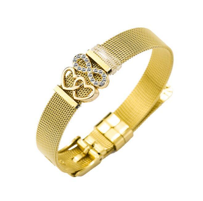 1 Pcs Nieuwe Rvs Strap Armband Liefde Hart Combinatie Armband
