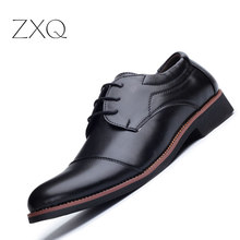 ZXQ Classic Men PU Leather Men Business Dress Shoes Black Shoes Pointed Toe Flat Formal British