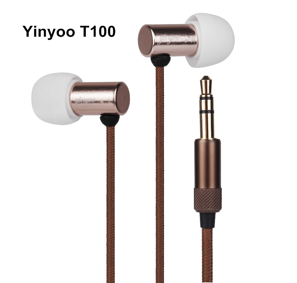 Newest Yinyoo T100 In Ear Earphone Balanced Armature Metal HIFI Unit With Three Filters In Ear Headset Earbuds Free Shipping kz zsr bluetooth headphones balanced armature with dynamic in ear earphone 2ba 1dd unit noise cancel headset replacement cable