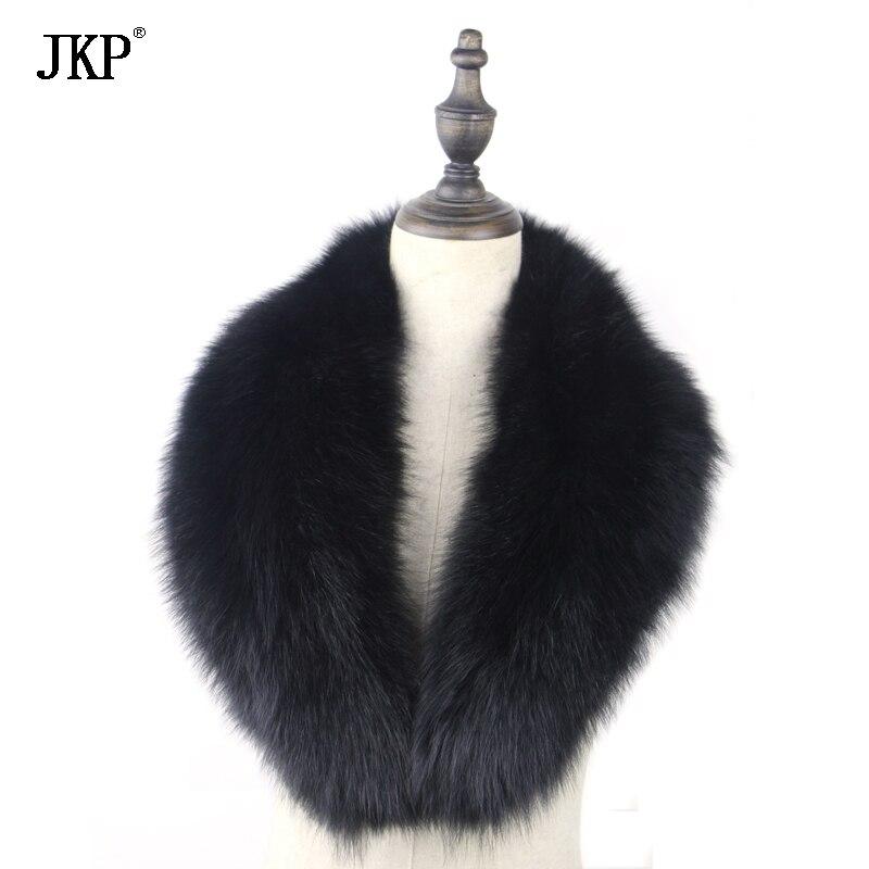 100% Real Fox Fur Scarf Fox Fur Collar Womens Genuine Natural Black Fox Fur Scarves Collar