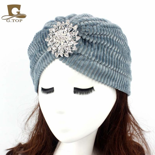 48f864a18e9 Women Stretchy Turban coral velvet Head Wrap Band Chemo Bandana Hijab  Pleated Indian Cap Hat with crystal alloy brooch