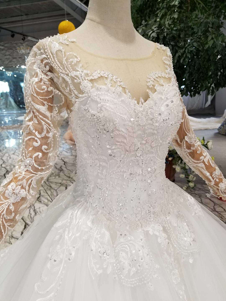 Htl109 Western Style Wedding Dresses Pure New O Neck Long Appliques Tulle Sleeves Wedding Gown Plate Na Bretelkah Wedding Dresses Aliexpress