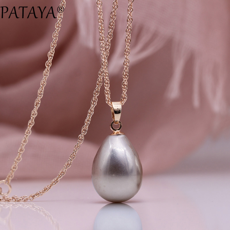 HTB1LnYOOgDqK1RjSZSyq6yxEVXaS - PATAYA New 328 Anniversary Water Drop Long Necklace Women Fashion Jewelry 585 Rose Gold Wedding Fine Cute Shell Pearls Pendants