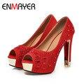 ENMAYER ouro prata mulheres bombas Peep Toe Vermelho sapatos Dedo Do Pé Redondo das mulheres do salto Quadrado sapatos de Strass bombas de sapatos de Festa Moda Deslizamento-em