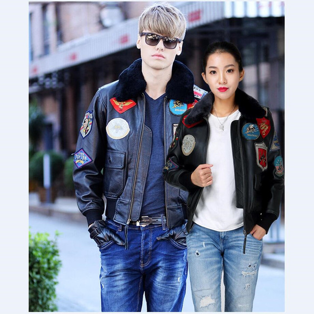 FREE SHIPPING 2017 New Lovers Black TOP GUN Leather Pilot Jacket Wool Collar Real Thick Sheepskin Plus Size XXXXL Factory Direct