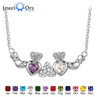 925 Sterling Silver Claddagh Necklace&Pendants 2 Heart Crown Customized Stones Necklace Irish Friendship Gift JewelOra NE101916