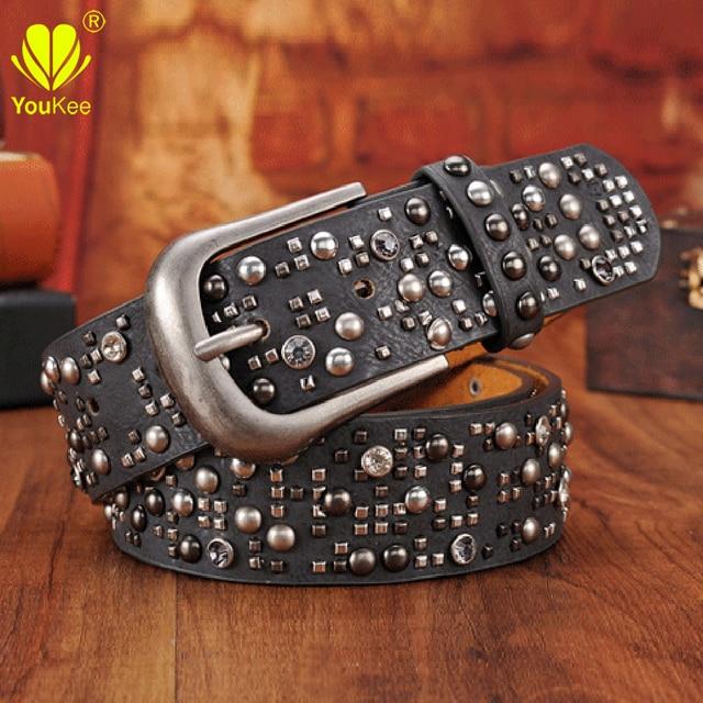 Cintos de luxo Das Mulheres De Alta Qualidade PU Cinto De Couro Para Mulheres rebite Cravejado Cintos Largos Cintura de Metal Pin Fivela Casuais calças de Brim SZ6005