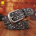 Cinturones de lujo Para Mujer de Alta Calidad de LA PU Correa de Cuero Para Las Mujeres Rivet Tachonado Cinturones Anchos de Cintura de Metal Hebilla Vaqueros Casuales SZ6005