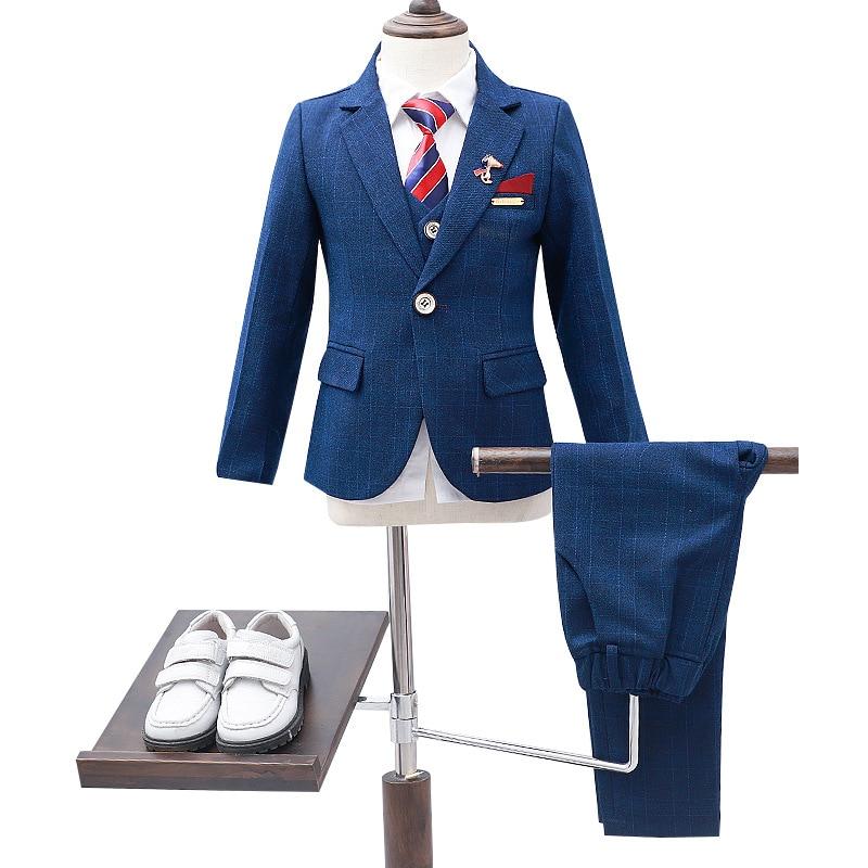 Children s Formal 4pcs Suit Sets Flower Boy Wedding Party Prom Birthday Dress Costume Kids Blazer