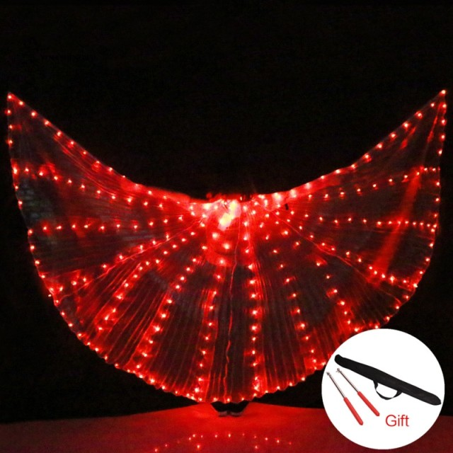 Adult Women LED Light Isis Wings Belly Dance Costumes 360 Egyptian Stage Performance New Arrival DJ LED Wings With Sticks