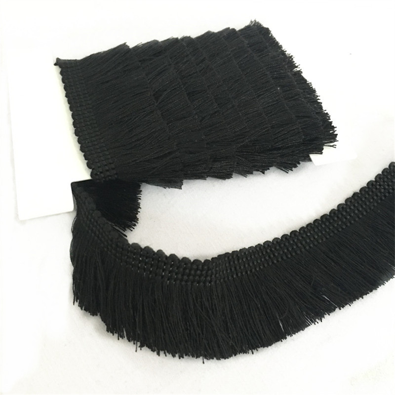 2 Yards Black Cotton Fringe Tassel Trim Thin Lace Sewing Decoration  7LS74-1