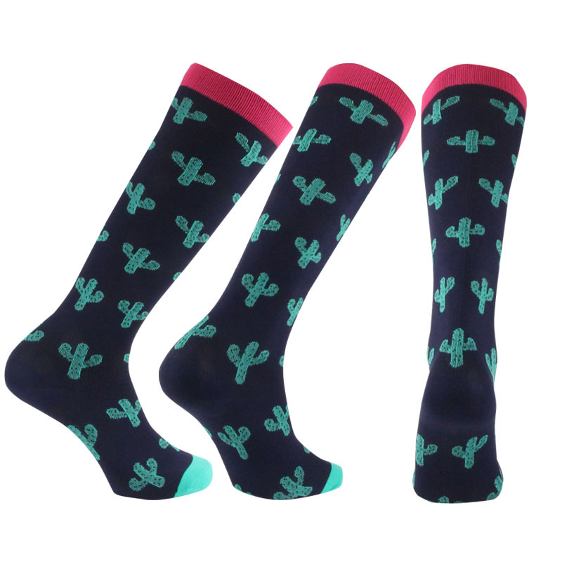 Brothock Women Cycling Pressure Socks Cotton New Cactus Pattern Sports Athletic Compression Stockings Outdoor Running Socks